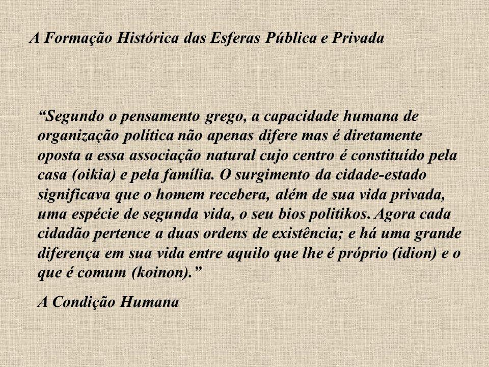 A Formação Histórica das Esferas Pública e Privada Segundo o pensamento grego, a capacidade humana de organização política não apenas difere mas é dir