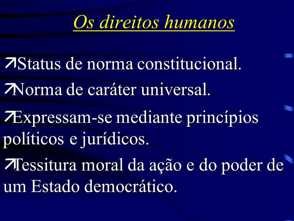 Os direitos humanos visam estabelecer uma ordem internacional politicamente justa Norma comum/direito cosmopolita Minima moralia internacional Express