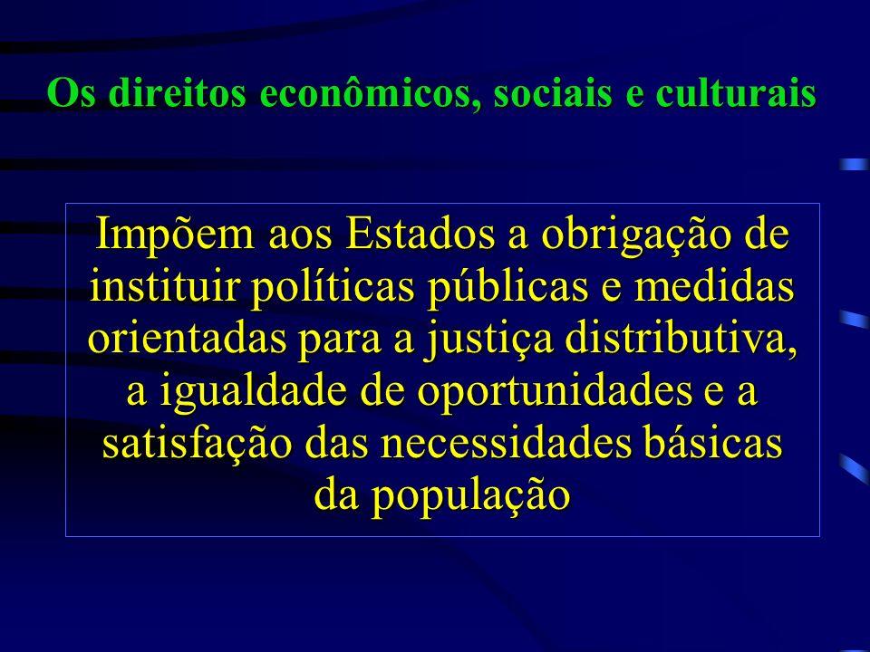 As normas de direitos civis e políticos impõem aos governos a obrigação de respeitar, garantir e promover os direitos fundamentais da pessoa humana Di