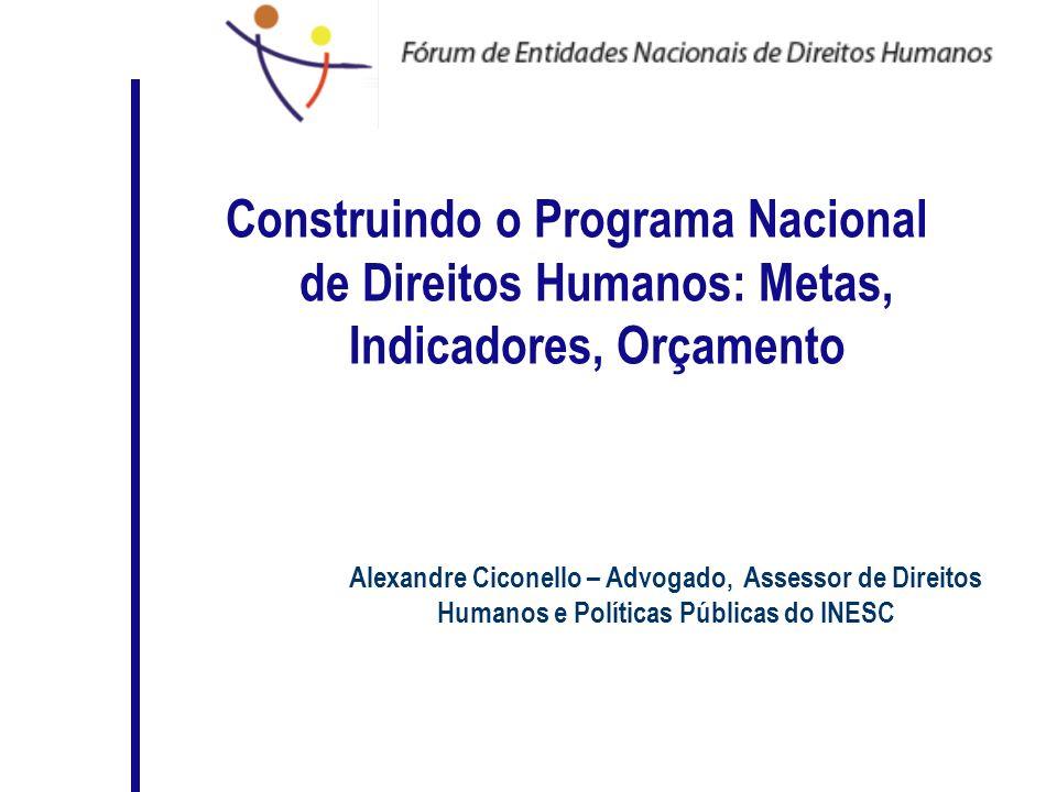 Construindo o Programa Nacional de Direitos Humanos: Metas, Indicadores, Orçamento Alexandre Ciconello – Advogado, Assessor de Direitos Humanos e Polí