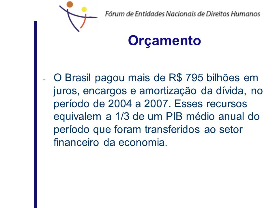 Orçamento - O Brasil pagou mais de R$ 795 bilhões em juros, encargos e amortização da dívida, no período de 2004 a 2007. Esses recursos equivalem a 1/
