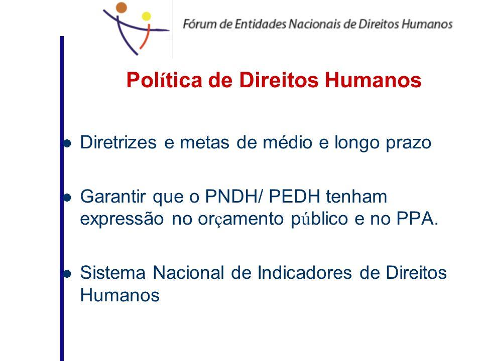 Pol í tica de Direitos Humanos Diretrizes e metas de médio e longo prazo Garantir que o PNDH/ PEDH tenham expressão no or ç amento p ú blico e no PPA.