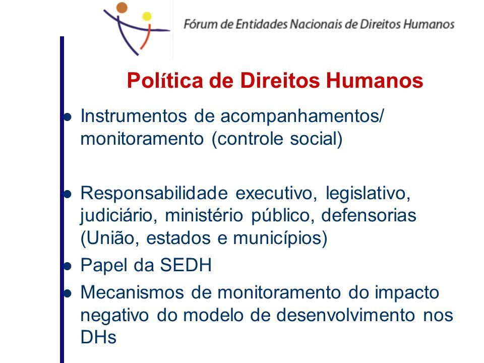 Pol í tica de Direitos Humanos Instrumentos de acompanhamentos/ monitoramento (controle social) Responsabilidade executivo, legislativo, judiciário, m