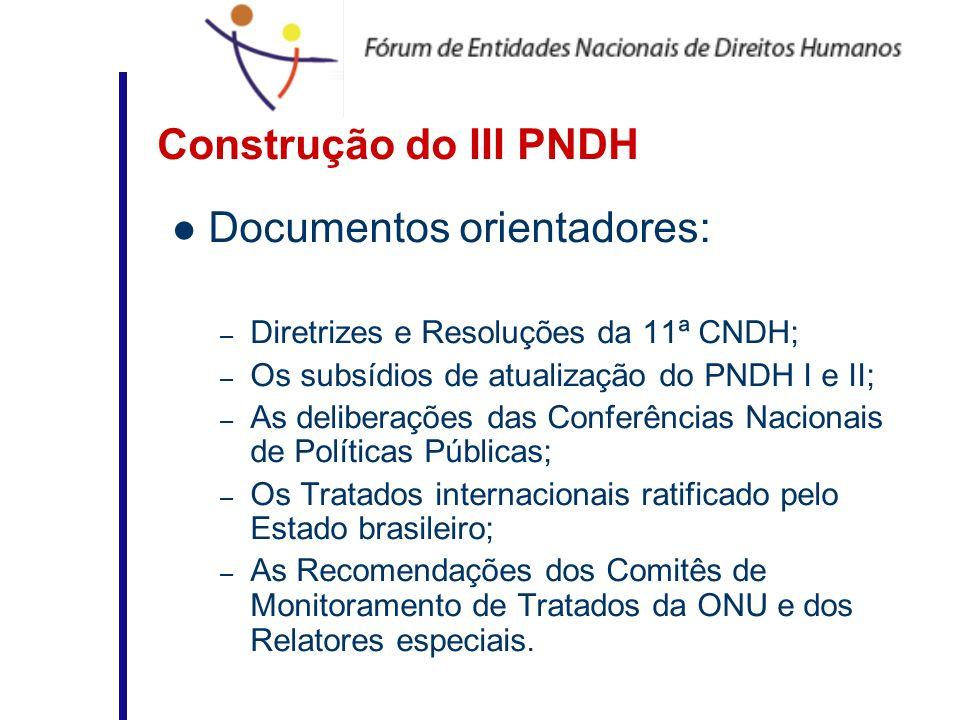 Construção do III PNDH Documentos orientadores: – Diretrizes e Resoluções da 11ª CNDH; – Os subsídios de atualização do PNDH I e II; – As deliberações