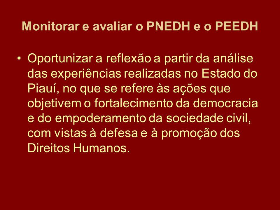 Monitorar e avaliar o PNEDH e o PEEDH Oportunizar a reflexão a partir da análise das experiências realizadas no Estado do Piauí, no que se refere às ações que objetivem o fortalecimento da democracia e do empoderamento da sociedade civil, com vistas à defesa e à promoção dos Direitos Humanos.