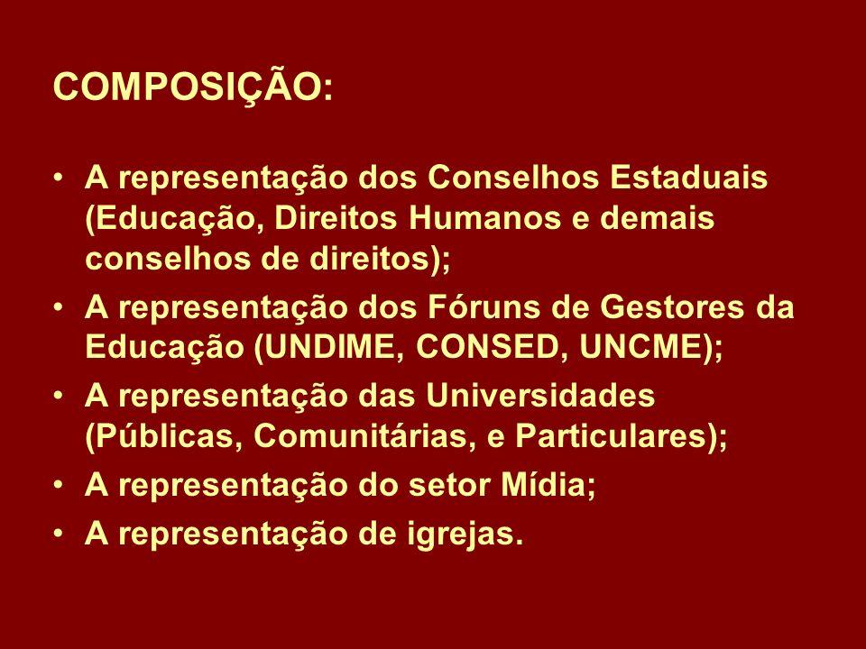 COMPOSIÇÃO: A representação dos Conselhos Estaduais (Educação, Direitos Humanos e demais conselhos de direitos); A representação dos Fóruns de Gestores da Educação (UNDIME, CONSED, UNCME); A representação das Universidades (Públicas, Comunitárias, e Particulares); A representação do setor Mídia; A representação de igrejas.