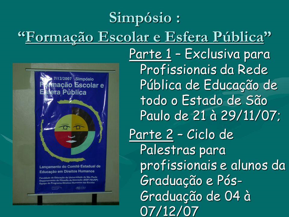 Simpósio :Formação Escolar e Esfera Pública Parte 1 – Exclusiva para Profissionais da Rede Pública de Educação de todo o Estado de São Paulo de 21 à 2