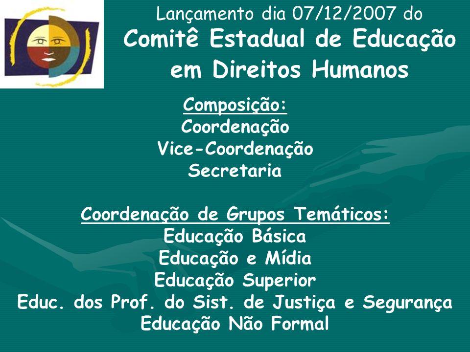 Lançamento dia 07/12/2007 do Comitê Estadual de Educação em Direitos Humanos Composição: Coordenação Vice-Coordenação Secretaria Coordenação de Grupos