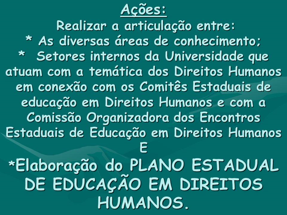 Ações: Realizar a articulação entre: * As diversas áreas de conhecimento; * Setores internos da Universidade que atuam com a temática dos Direitos Hum