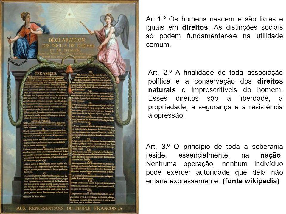 Art.1.º Os homens nascem e são livres e iguais em direitos. As distinções sociais só podem fundamentar-se na utilidade comum. Art. 2.º A finalidade de