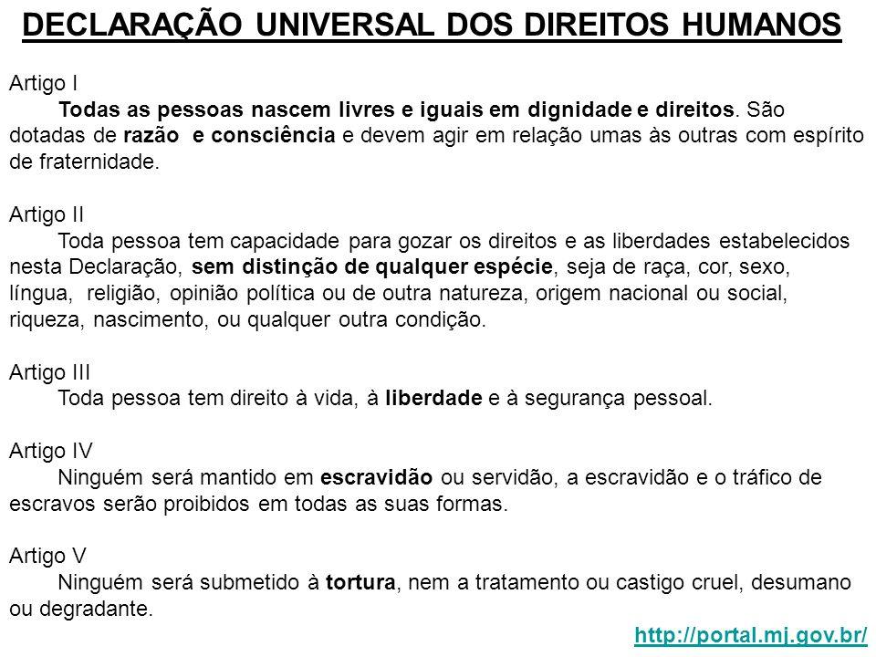DECLARAÇÃO UNIVERSAL DOS DIREITOS HUMANOS Artigo I Todas as pessoas nascem livres e iguais em dignidade e direitos. São dotadas de razão e consciência