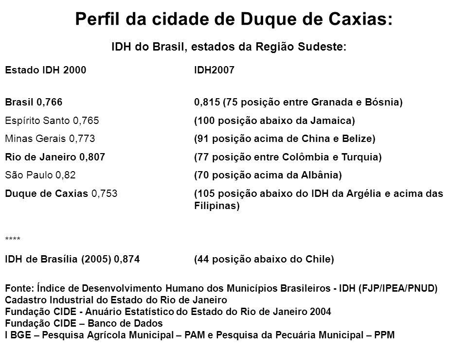 Perfil da cidade de Duque de Caxias: IDH do Brasil, estados da Região Sudeste: Fonte: Índice de Desenvolvimento Humano dos Municípios Brasileiros - ID