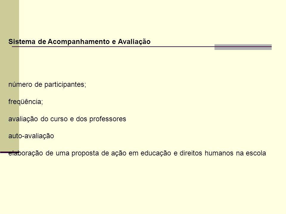 Sistema de Acompanhamento e Avaliação número de participantes; freqüência; avaliação do curso e dos professores auto-avaliação elaboração de uma propo