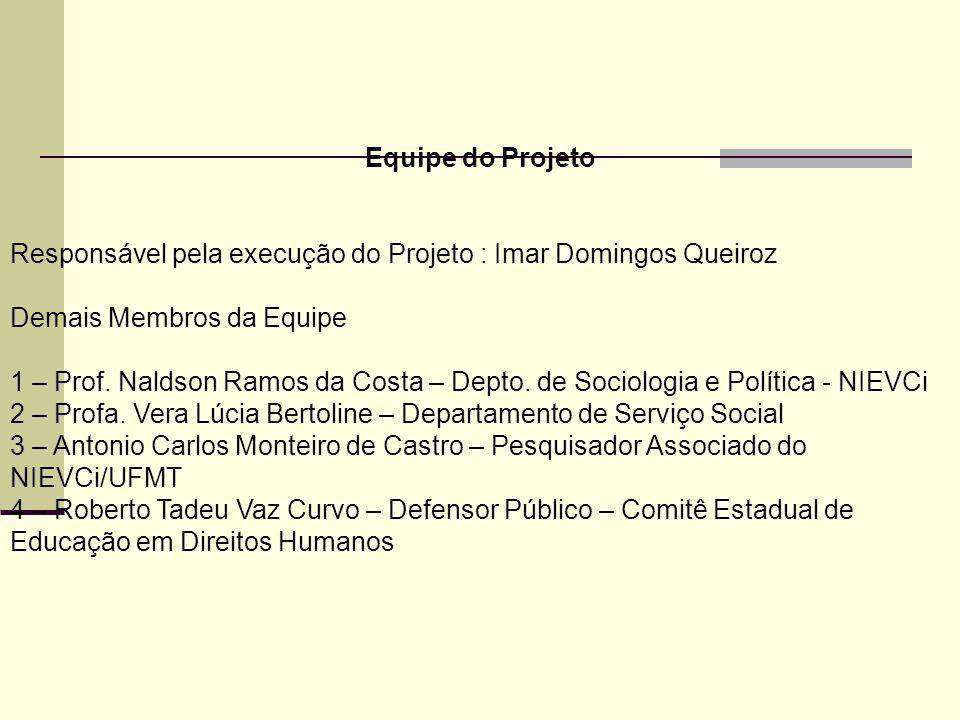 Equipe do Projeto Responsável pela execução do Projeto : Imar Domingos Queiroz Demais Membros da Equipe 1 – Prof. Naldson Ramos da Costa – Depto. de S
