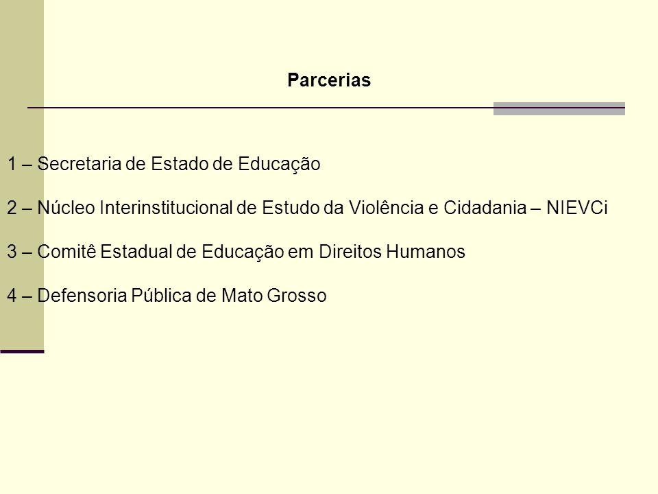 Parcerias 1 – Secretaria de Estado de Educação 2 – Núcleo Interinstitucional de Estudo da Violência e Cidadania – NIEVCi 3 – Comitê Estadual de Educação em Direitos Humanos 4 – Defensoria Pública de Mato Grosso