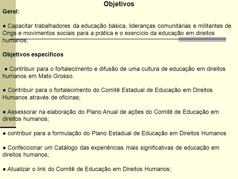 Objetivos Geral: Capacitar trabalhadores da educação básica, lideranças comunitárias e militantes de Ongs e movimentos sociais para a prática e o exer