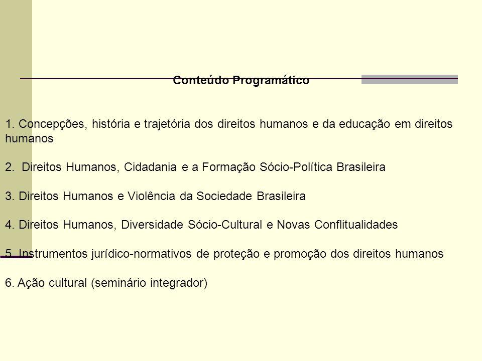 Conteúdo Programático 1. Concepções, história e trajetória dos direitos humanos e da educação em direitos humanos 2. Direitos Humanos, Cidadania e a F