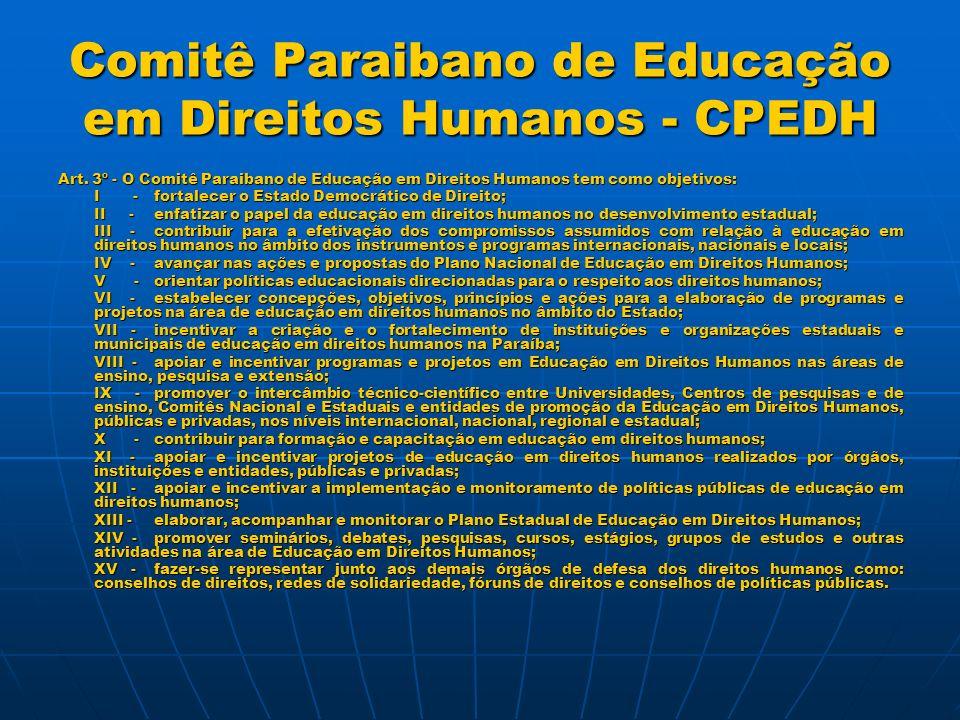 Comitê Paraibano de Educação em Direitos Humanos - CPEDH Art.