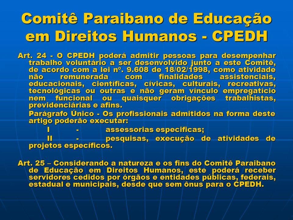 Comitê Paraibano de Educação em Direitos Humanos - CPEDH Diretoria Executiva: Coordenador-Geral: José Baptista de Mello Neto – UFPB; Secretário: José Alexandre Ferreira Guedes – OAB/PB.