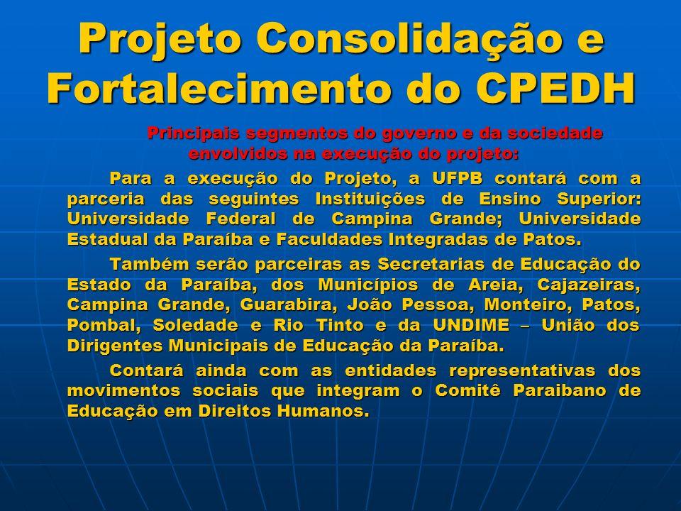 Projeto Consolidação e Fortalecimento do CPEDH Meta 01 – Curso de Capacitação para os Membros do Comitê Paraibano de Educação em Direitos Humanos, com 52 h/a.