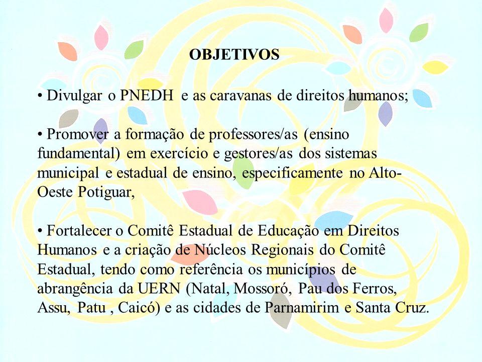 Divulgar o PNEDH e as caravanas de direitos humanos; Promover a formação de professores/as (ensino fundamental) em exercício e gestores/as dos sistema