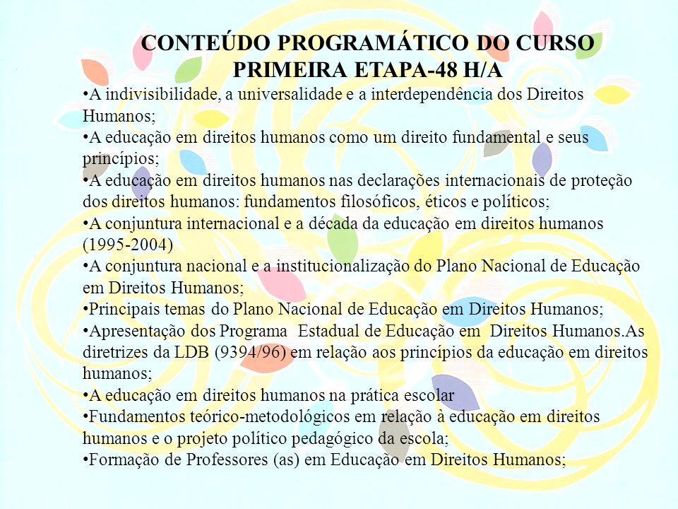CONTEÚDO PROGRAMÁTICO DO CURSO PRIMEIRA ETAPA-48 H/A A indivisibilidade, a universalidade e a interdependência dos Direitos Humanos; A educação em dir