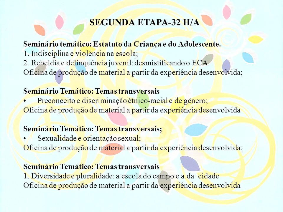 SEGUNDA ETAPA-32 H/A Seminário temático: Estatuto da Criança e do Adolescente. 1. Indisciplina e violência na escola; 2. Rebeldia e delinqüência juven
