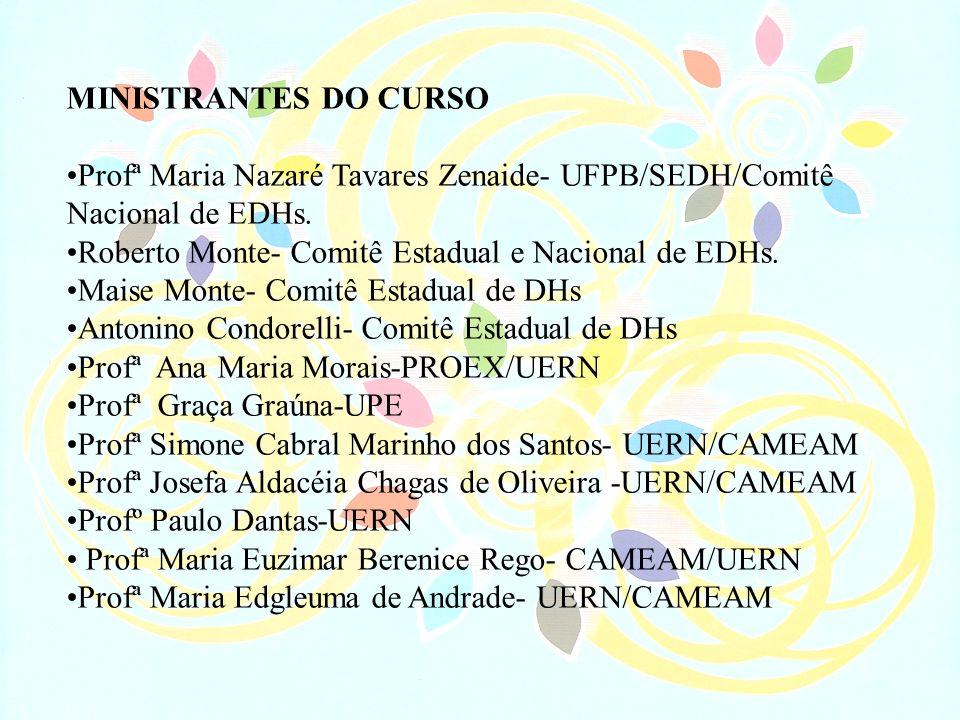 MINISTRANTES DO CURSO Profª Maria Nazaré Tavares Zenaide- UFPB/SEDH/Comitê Nacional de EDHs. Roberto Monte- Comitê Estadual e Nacional de EDHs. Maise