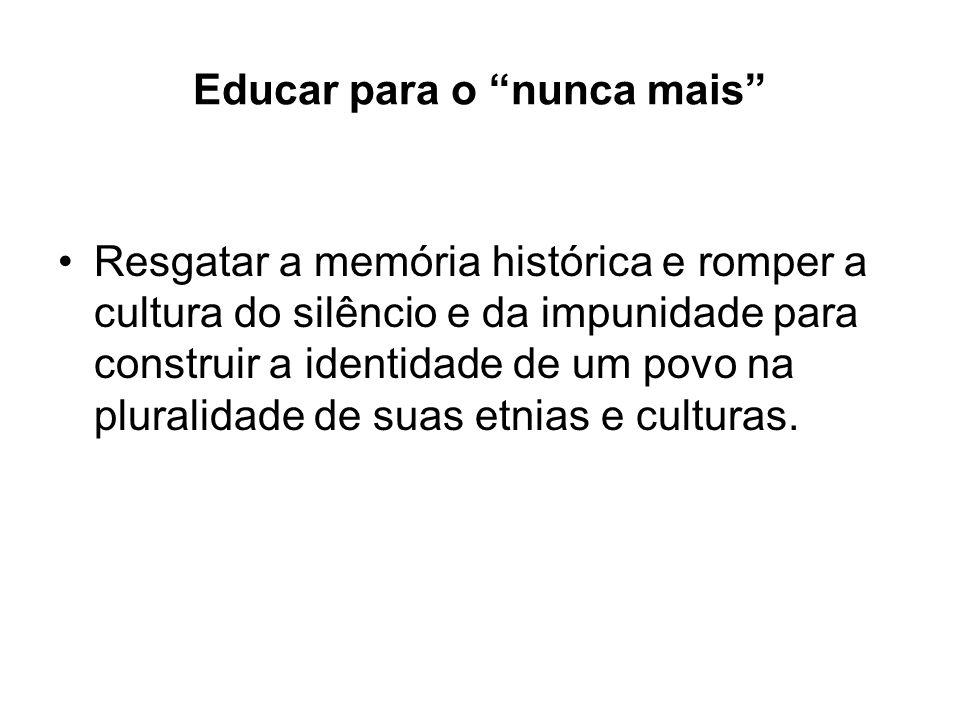 Educar para o nunca mais Resgatar a memória histórica e romper a cultura do silêncio e da impunidade para construir a identidade de um povo na plurali