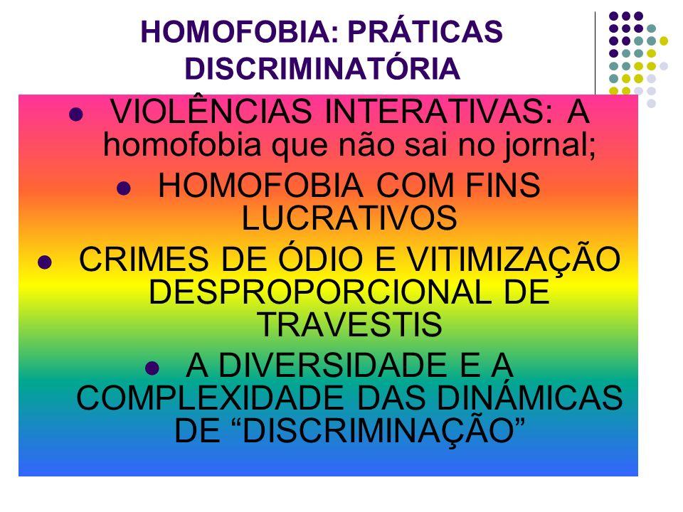 HOMOFOBIA: PRÁTICAS DISCRIMINATÓRIA VIOLÊNCIAS INTERATIVAS: A homofobia que não sai no jornal; HOMOFOBIA COM FINS LUCRATIVOS CRIMES DE ÓDIO E VITIMIZA