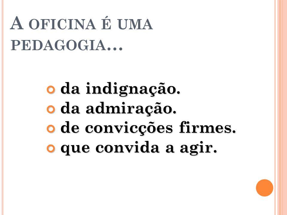 A OFICINA É UMA PEDAGOGIA … da indignação. da indignação. da admiração. da admiração. de convicções firmes. de convicções firmes. que convida a agir.