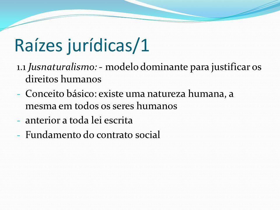 Raízes jurídicas/1 1.1 Jusnaturalismo: - modelo dominante para justificar os direitos humanos - Conceito básico: existe uma natureza humana, a mesma e
