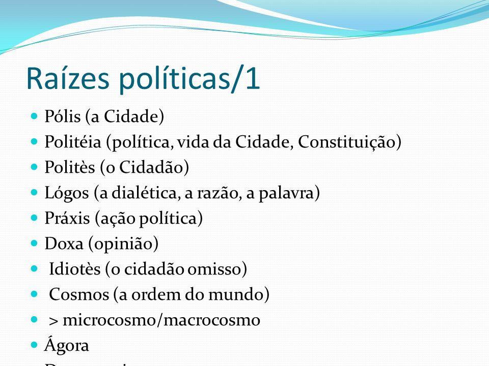 Raízes políticas/1 Pólis (a Cidade) Politéia (política, vida da Cidade, Constituição) Politès (o Cidadão) Lógos (a dialética, a razão, a palavra) Práx