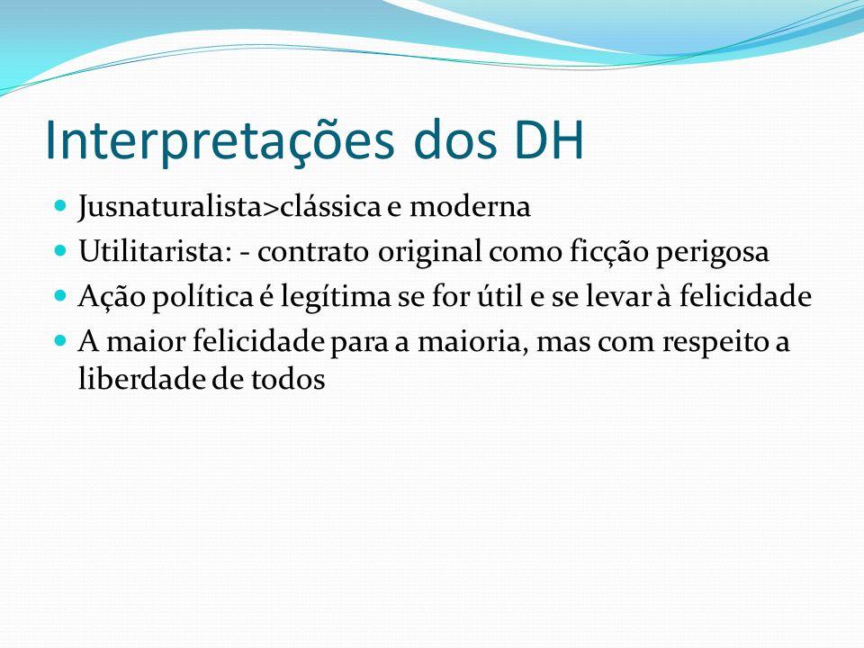 Interpretações dos DH Jusnaturalista>clássica e moderna Utilitarista: - contrato original como ficção perigosa Ação política é legítima se for útil e