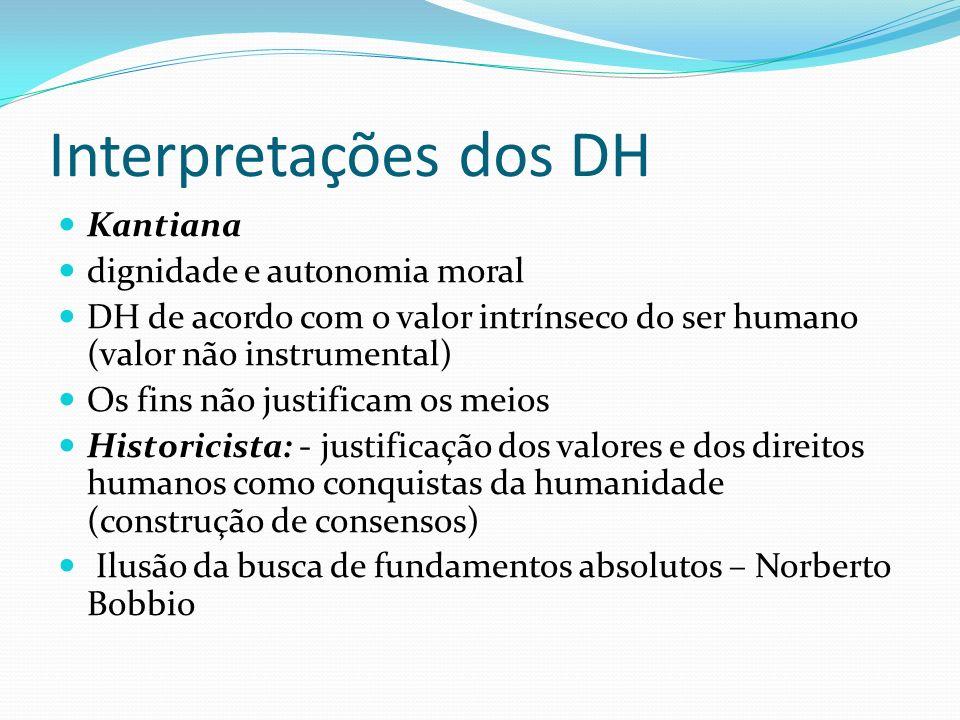 Interpretações dos DH Kantiana dignidade e autonomia moral DH de acordo com o valor intrínseco do ser humano (valor não instrumental) Os fins não just