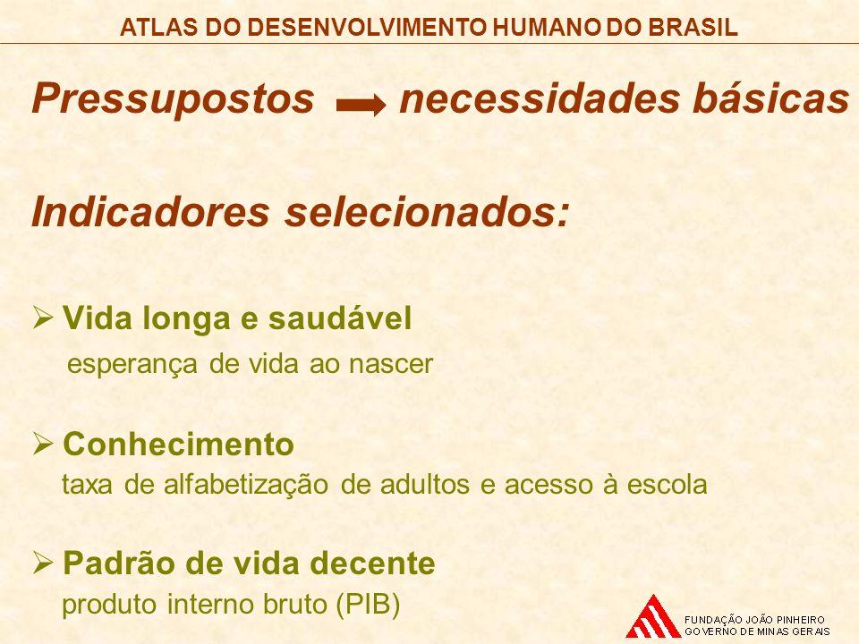 ATLAS DO DESENVOLVIMENTO HUMANO DO BRASIL Pressupostos necessidades básicas Indicadores selecionados: Vida longa e saudável esperança de vida ao nasce