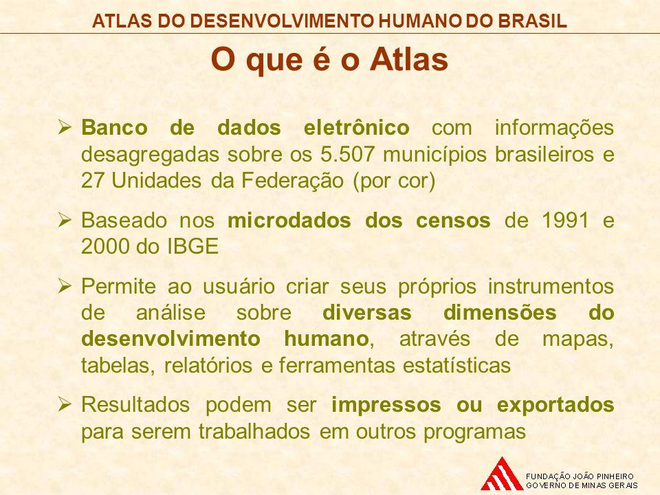 O que é o Atlas Banco de dados eletrônico com informações desagregadas sobre os 5.507 municípios brasileiros e 27 Unidades da Federação (por cor) Base