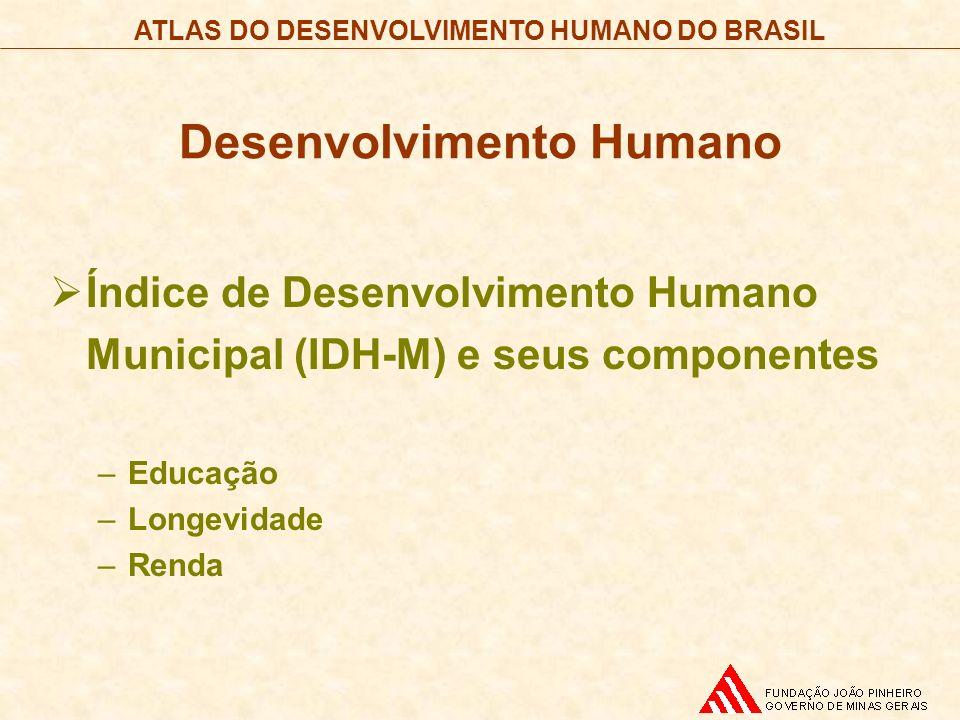 ATLAS DO DESENVOLVIMENTO HUMANO DO BRASIL Desenvolvimento Humano Índice de Desenvolvimento Humano Municipal (IDH-M) e seus componentes –Educação –Long