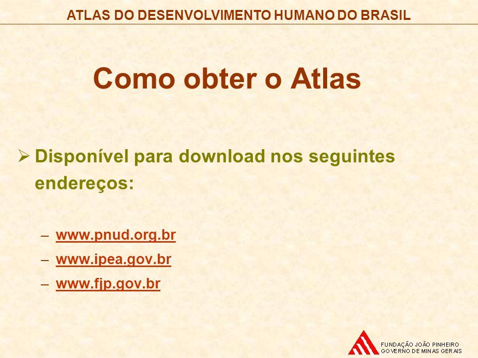ATLAS DO DESENVOLVIMENTO HUMANO DO BRASIL Como obter o Atlas Disponível para download nos seguintes endereços: –www.pnud.org.brwww.pnud.org.br –www.ip