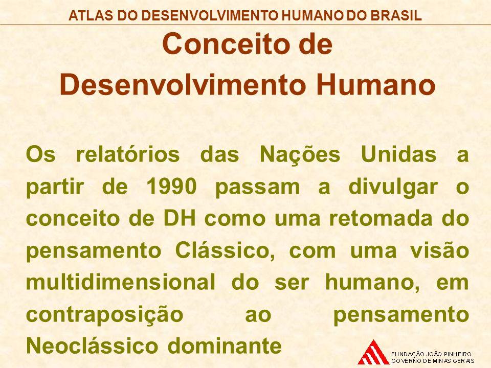 ATLAS DO DESENVOLVIMENTO HUMANO DO BRASIL Conceito de Desenvolvimento Humano Os relatórios das Nações Unidas a partir de 1990 passam a divulgar o conc