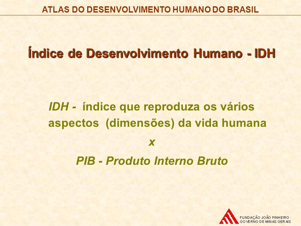 ATLAS DO DESENVOLVIMENTO HUMANO DO BRASIL Índice de Desenvolvimento Humano - IDH IDH - índice que reproduza os vários aspectos (dimensões) da vida hum