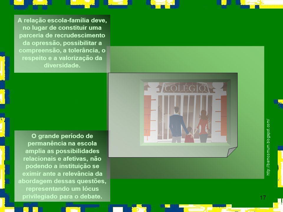 17 http://bemcomum.blogspot.com/ A relação escola-família deve, no lugar de constituir uma parceria de recrudescimento da opressão, possibilitar a com