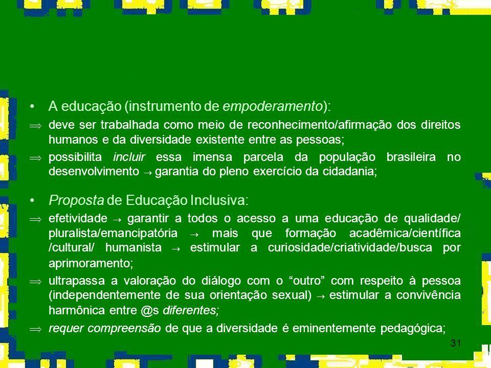 31 A educação (instrumento de empoderamento): Þdeve ser trabalhada como meio de reconhecimento/afirmação dos direitos humanos e da diversidade existen