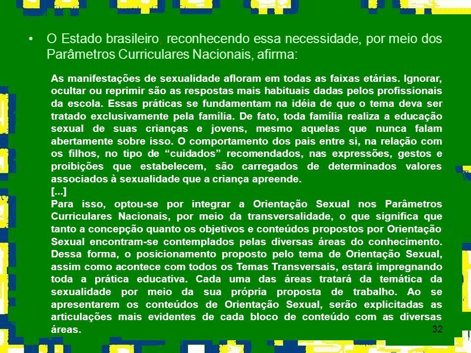 32 O Estado brasileiro, reconhecendo essa necessidade, por meio dos Parâmetros Curriculares Nacionais, afirma: As manifestações de sexualidade afloram