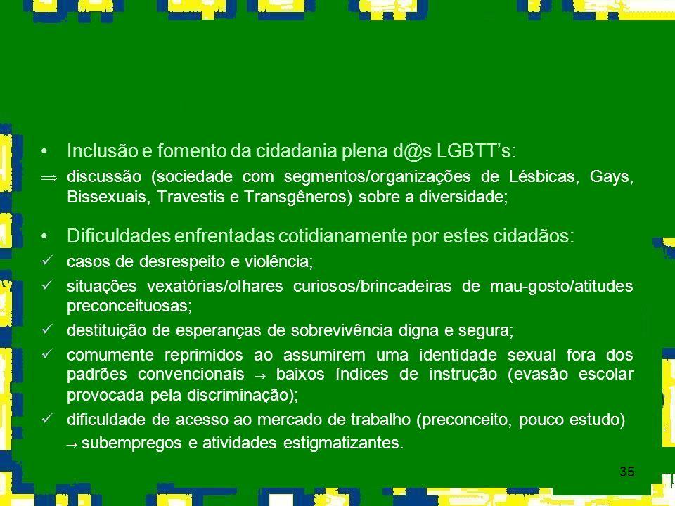 35 Inclusão e fomento da cidadania plena d@s LGBTTs: Þdiscussão (sociedade com segmentos/organizações de Lésbicas, Gays, Bissexuais, Travestis e Trans