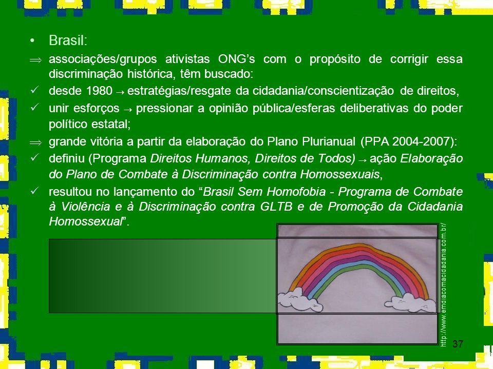 37 Brasil: Þassociações/grupos ativistas ONGs com o propósito de corrigir essa discriminação histórica, têm buscado: desde 1980 estratégias/resgate da