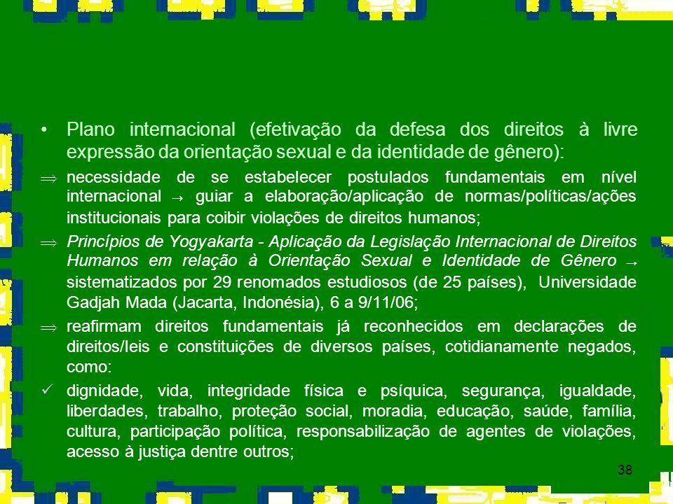 38 Plano internacional (efetivação da defesa dos direitos à livre expressão da orientação sexual e da identidade de gênero): necessidade de se estabel