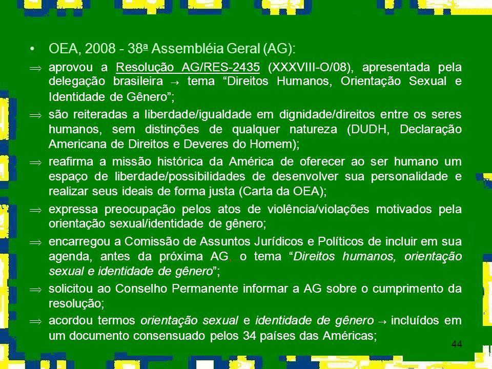 44 OEA, 2008 - 38 a Assembléia Geral (AG): aprovou a Resolução AG/RES-2435 (XXXVIII-O/08), apresentada pela delegação brasileira tema Direitos Humanos
