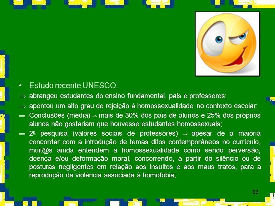 53 Estudo recente UNESCO: Þabrangeu estudantes do ensino fundamental, pais e professores; Þapontou um alto grau de rejeição à homossexualidade no cont