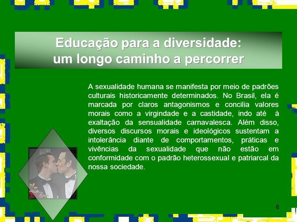 6 A sexualidade humana se manifesta por meio de padrões culturais historicamente determinados. No Brasil, ela é marcada por claros antagonismos e conc